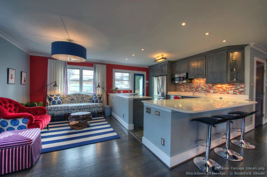 Best Kitchen Of The Day Gray Kitchen With Red White And 400 x 300