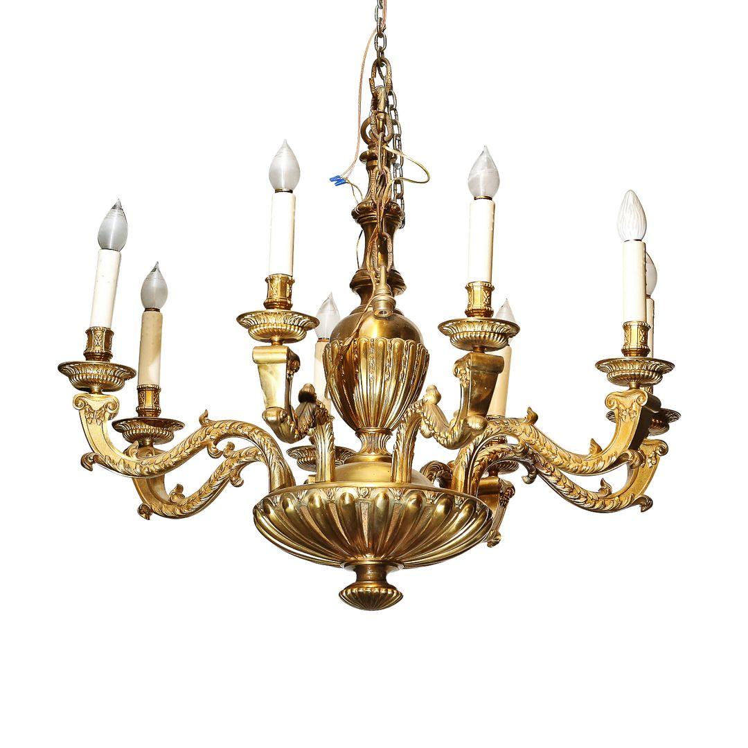 French Antique Regence Style Bronze 8-light Chandelier