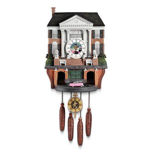 Amazon Com Cuckoo Clock Elvis Presley S Graceland By The Bradford Exchange Cuckoo Clock Wall Clock Light Elvis Presley Graceland