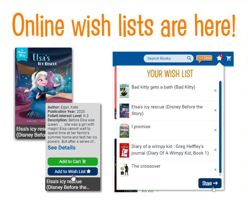 Online Wish Lists Are Here Now When You Host A Follett Book Fair On Campus Or Online Students Teachers And Staff Book Fair Book Search Independent Readers