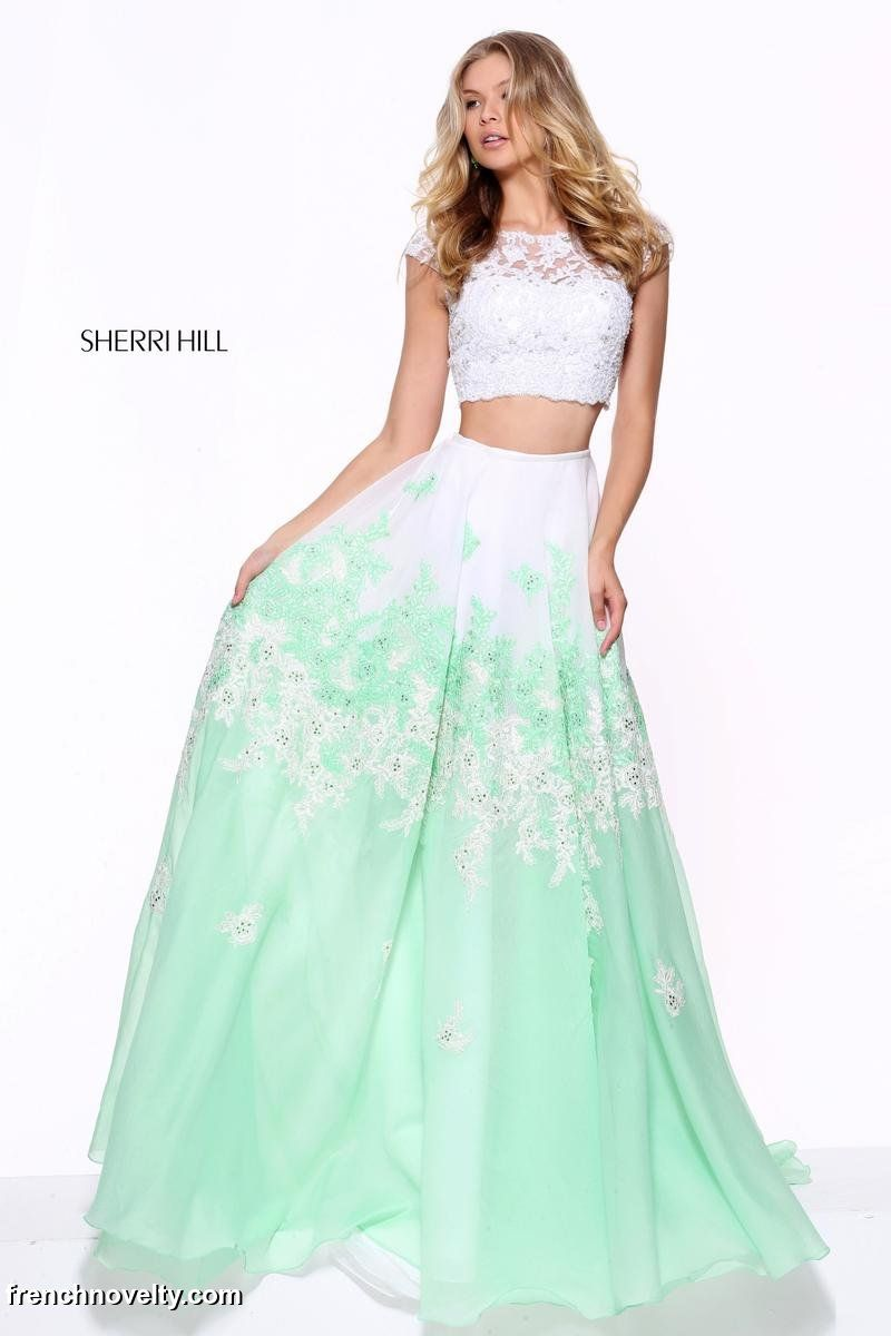 5f4e2a653b334 Sherri Hill 51122 is a 2-piece prom dress with a cap sleeved lace crop top  and an embroidered lace full skirt.