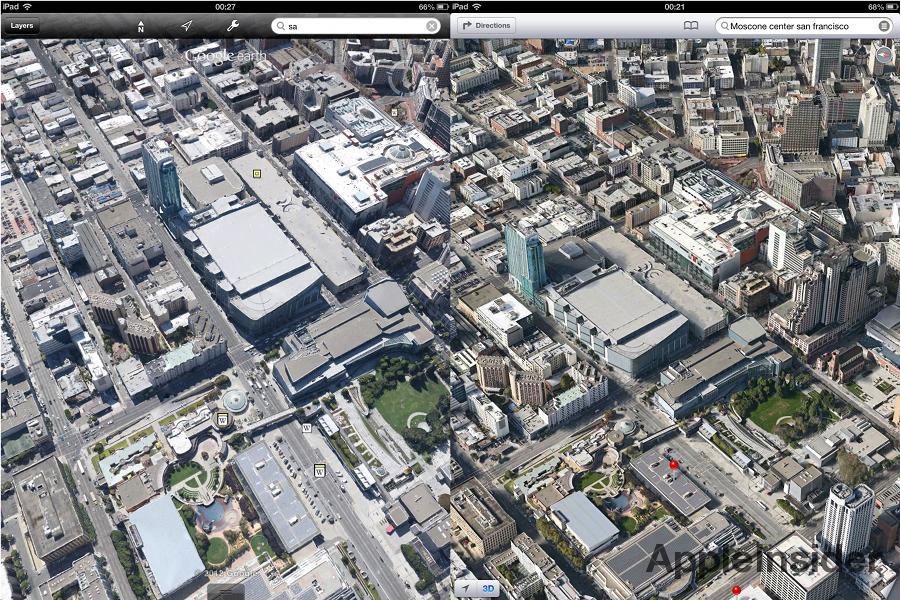 City View In New Google Earth For Ios Compared To Announced Apple