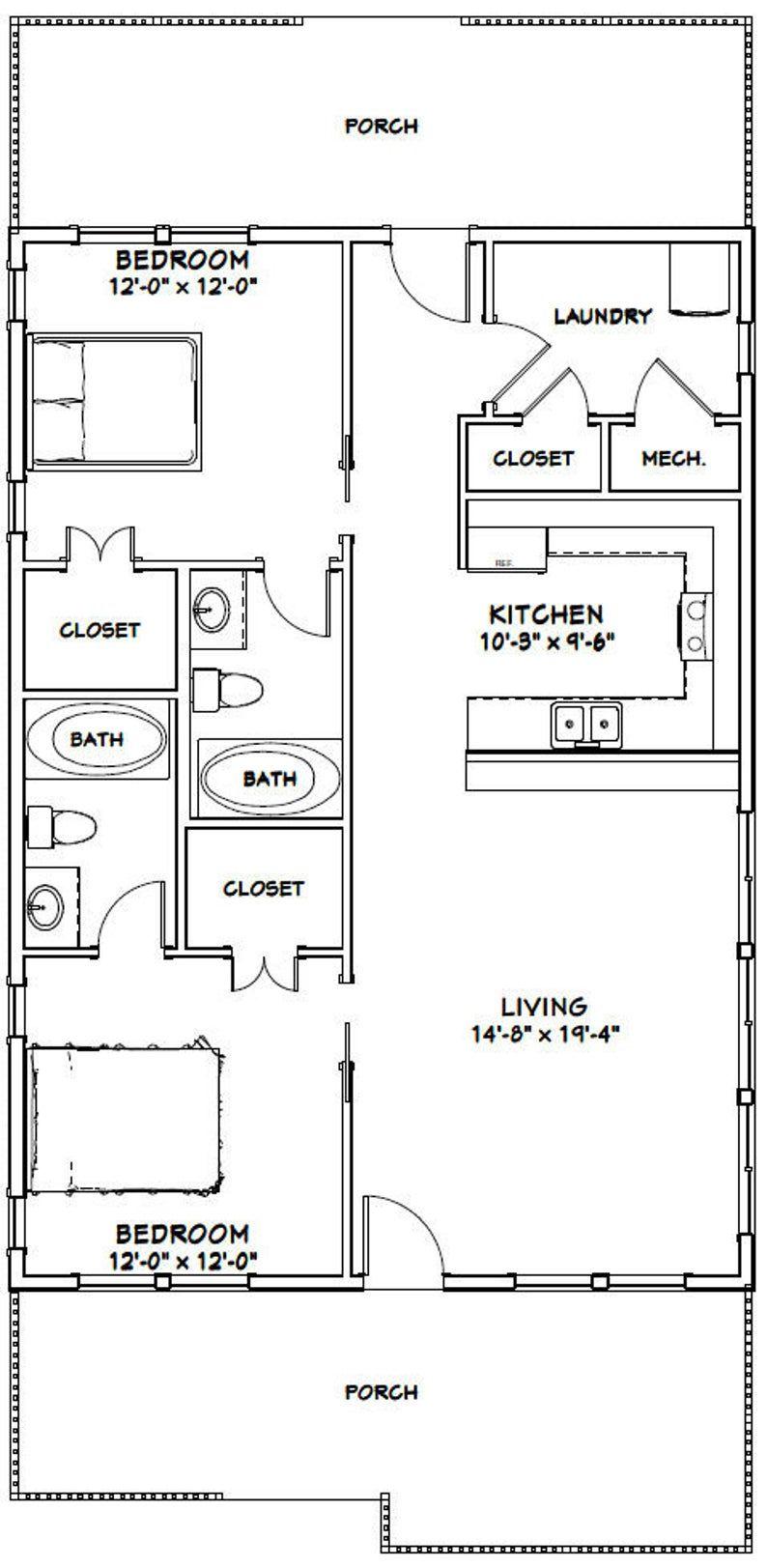 28x40 House 2 Bedroom 2 Bath 1 120 Sq Ft Pdf Floor Plan Instant Download Model 2 In 2020 Small Floor Plans House Plans Floor Plans