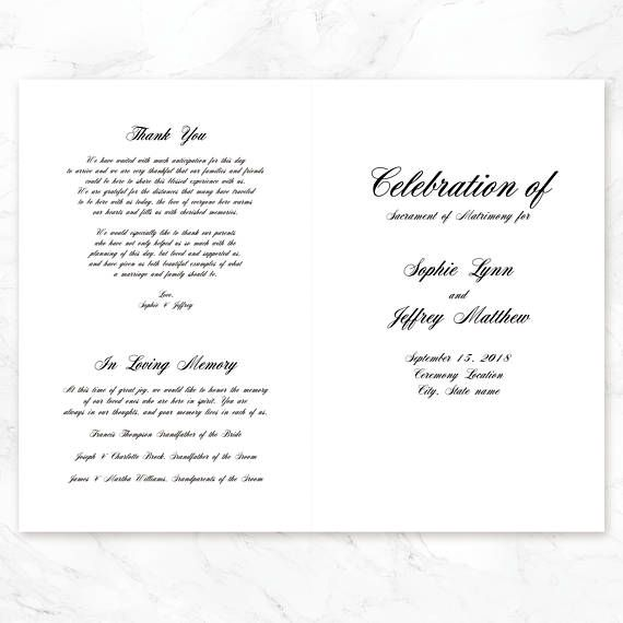Wedding Program Template Wedding Ceremony Program template - how to design wedding program template