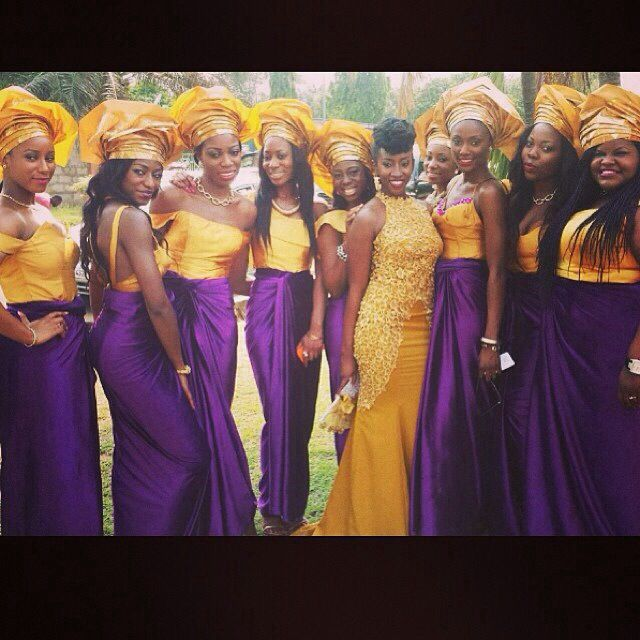 Nigerian Wedding Bridesmaids: Purple And Gold Nigerian Wedding