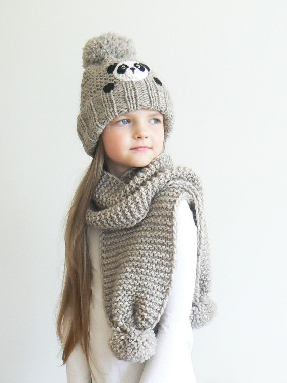 Winter hat and Scarf, Kids Outfit, Panda Hat, Knit Hat, Matching ...