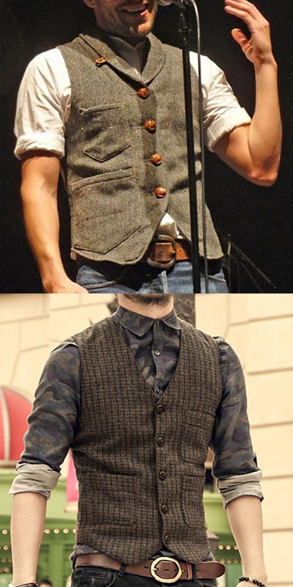 Photo of Casual Turndown Collar Mens Vest