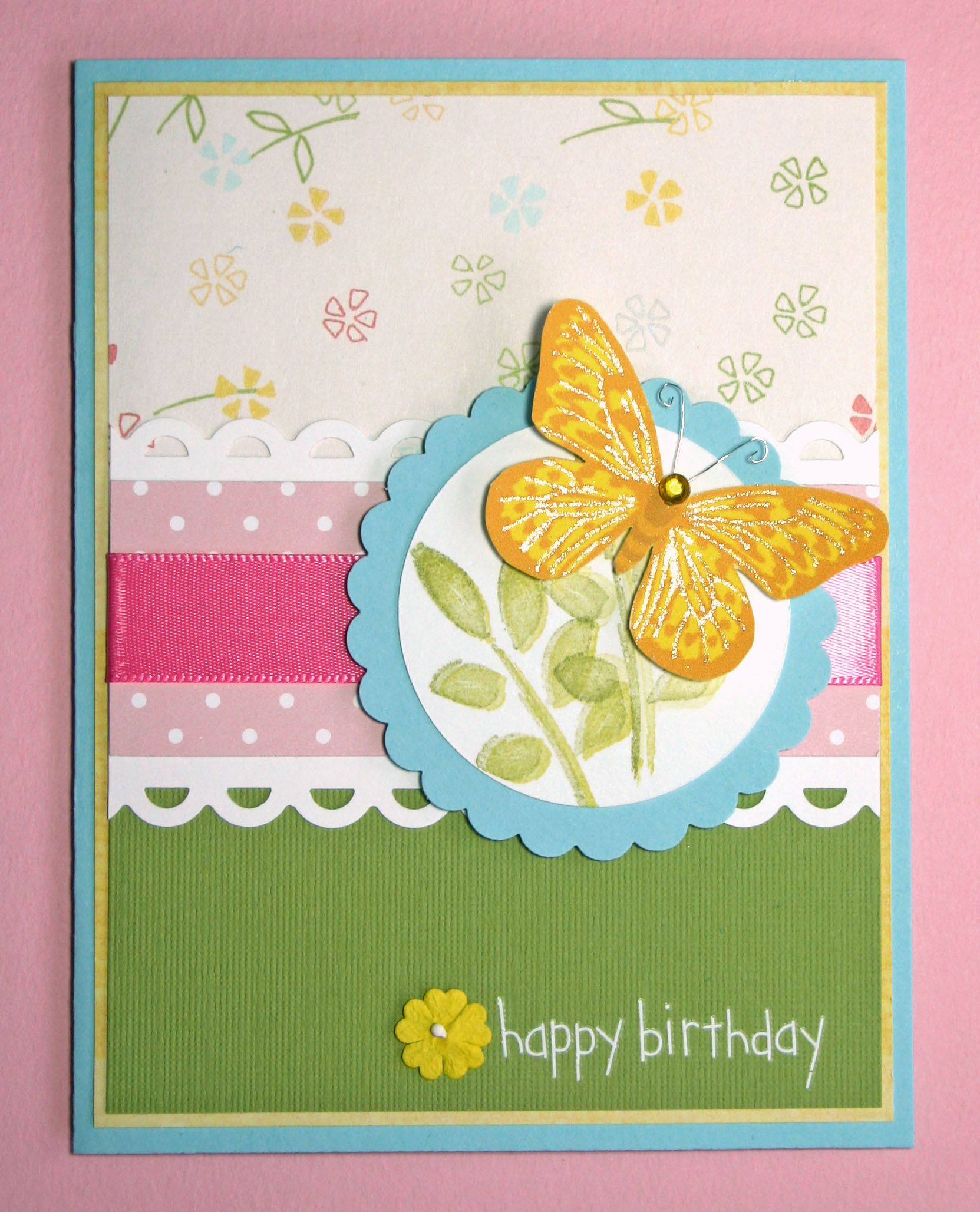 Handmade Card HAPPY BIRTHDAY butterfly family friends ...