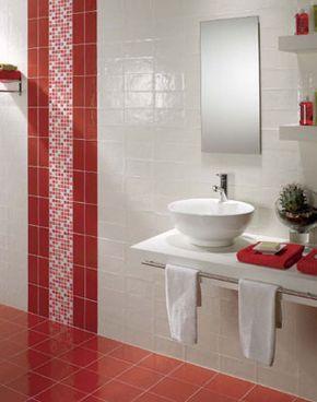 Banco en blanco y rojo con gresite | Baños, Baños modernos ...