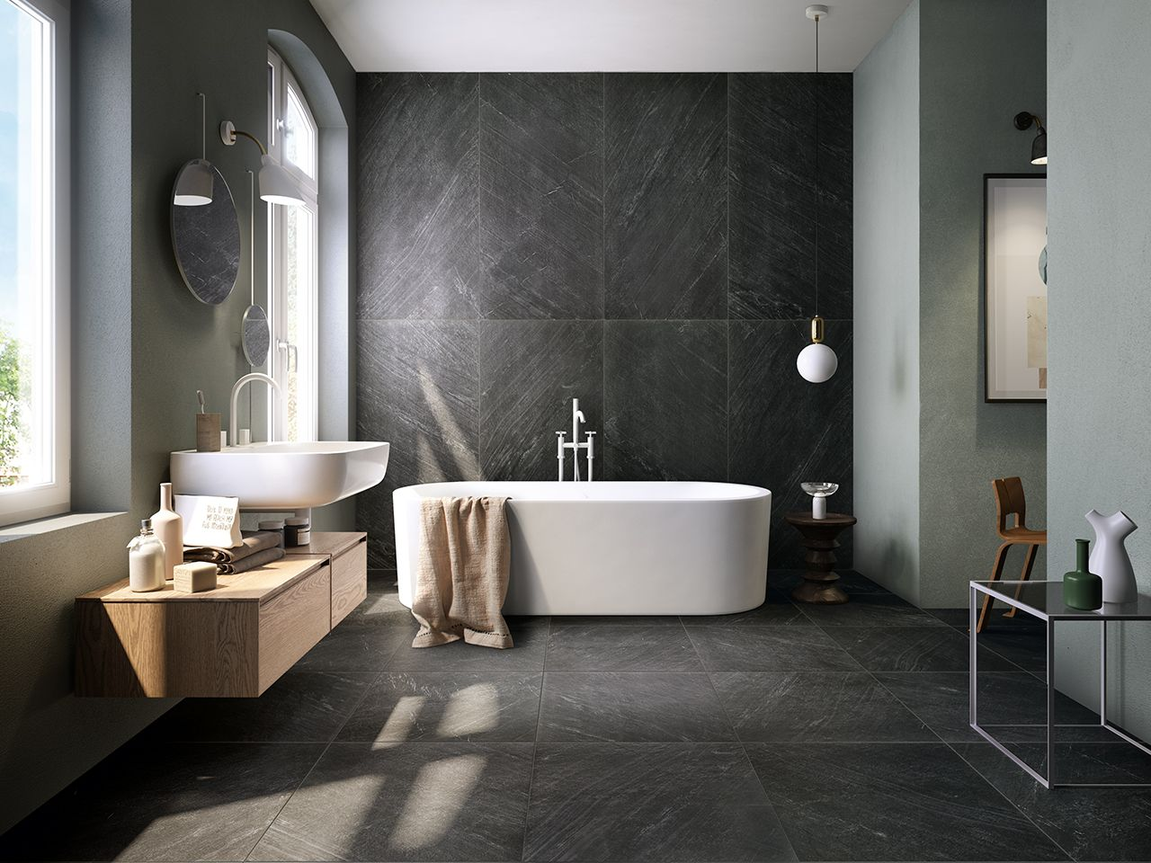 Ardesia bagno ~ Bagno ardesia lovely concrete tile and slate bathroom claw foot