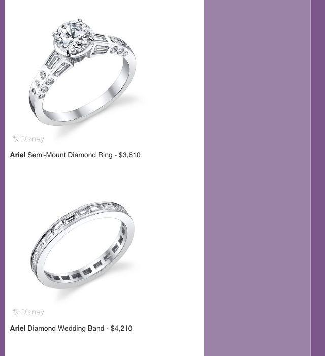 Ariel Disney engagement and wedding rings W E D D I N G