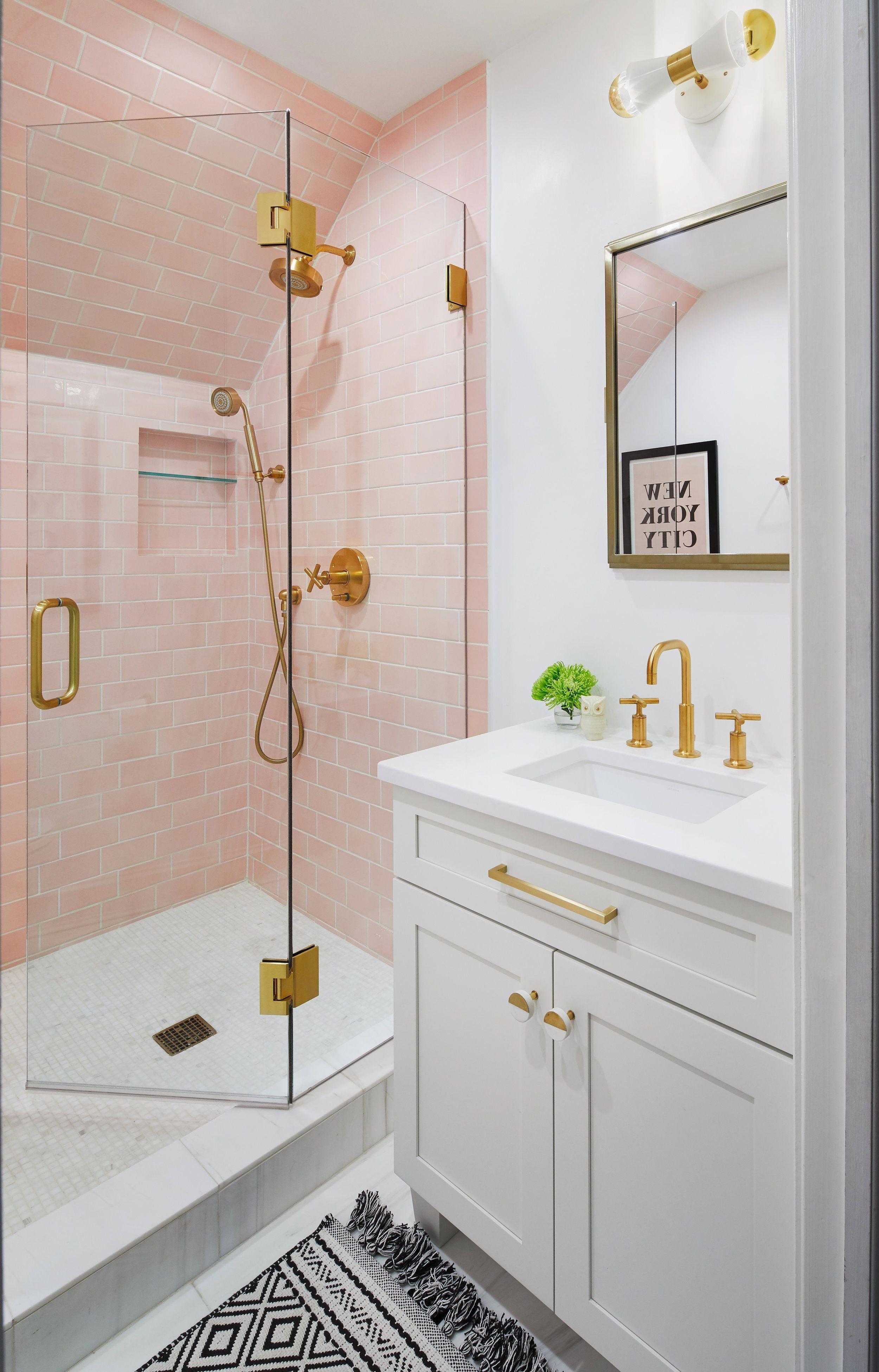 Chicago Interior Designer Jen Talbot Design Pink Bathroom Pink Powder Room Girls Bathroom Ideas Pink Bathroom Tiles Simple Bathroom Decor Pink Bathroom Simple bathroom for girls