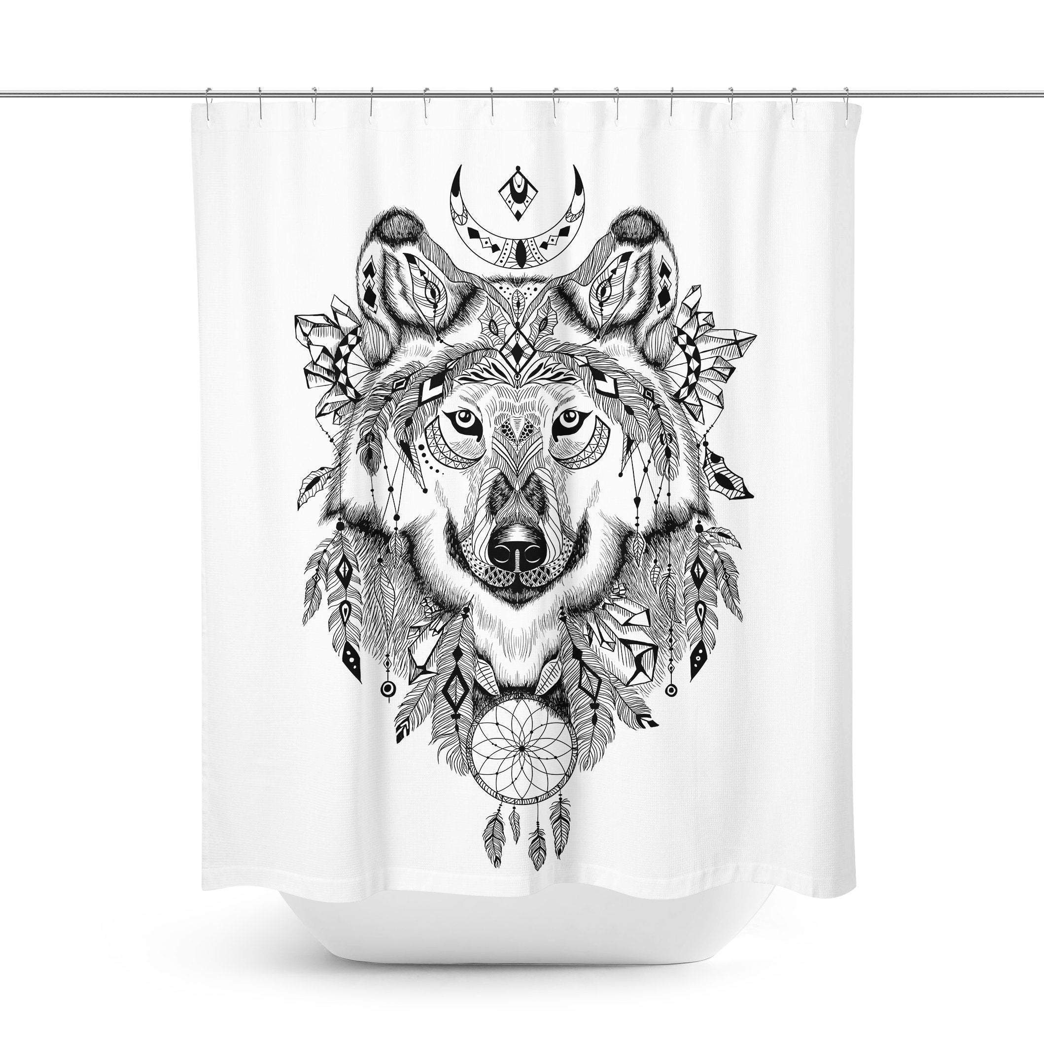 Boho Wolf Shower Curtain Curtains Boho Wolf