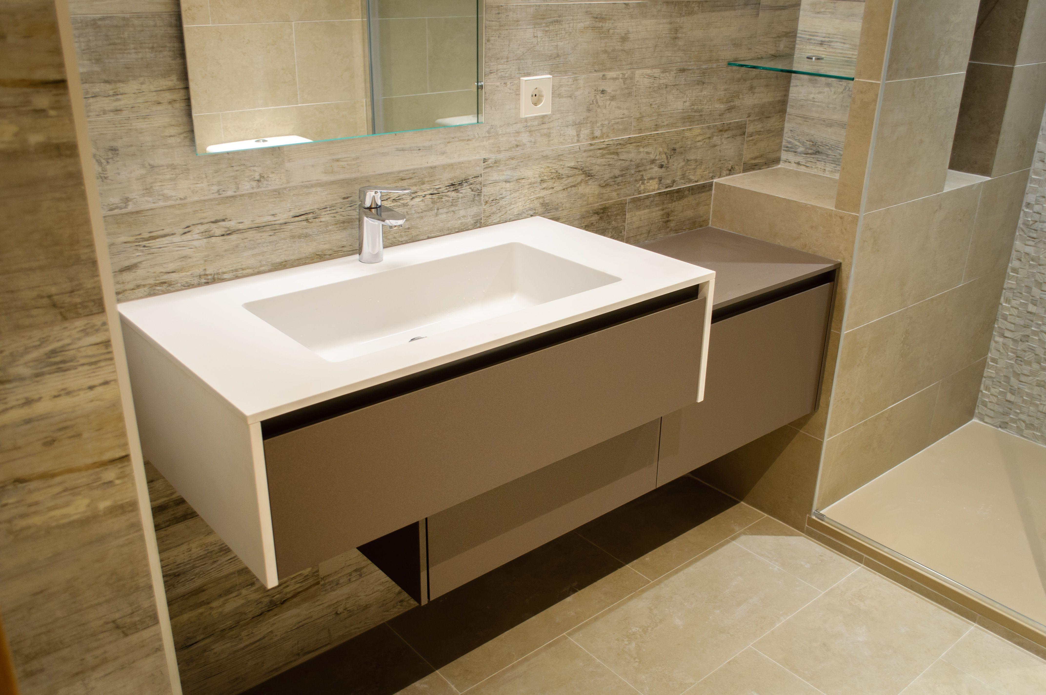 Mueble baño modelo WELLNESS, laminado Fenix. Encimera de ...