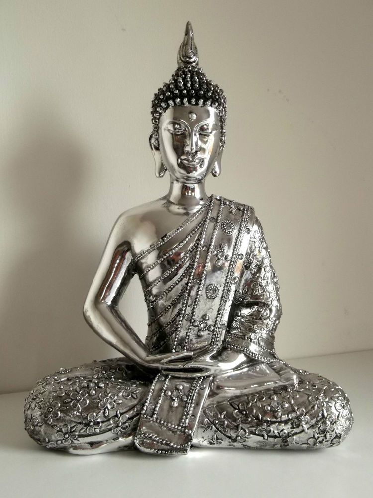 Large Silver Sitting Thai Buddha Ornament Figure Statue Sculpture Meditating New Buddha Statue Home Buddha Statue Large Buddha Statue