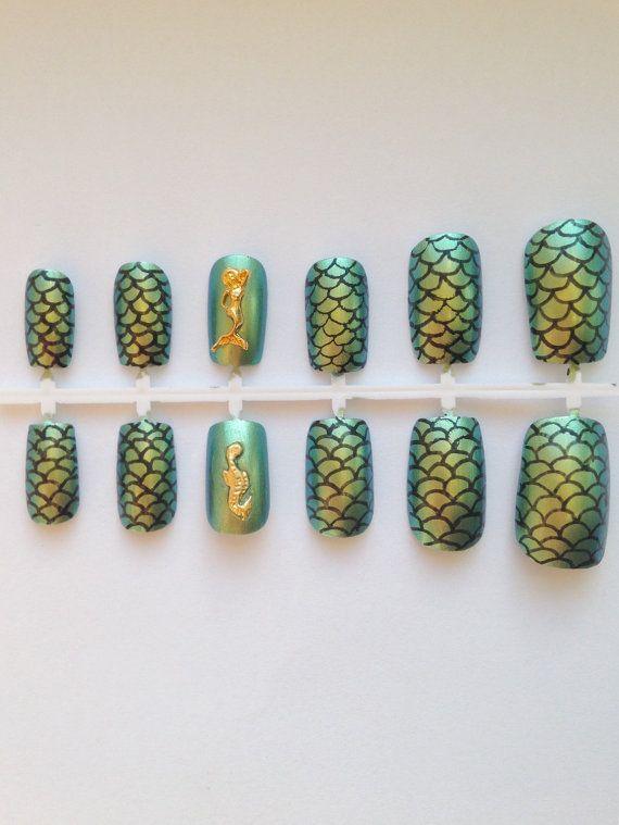 Mermaid Fake Nails.Metallic Green Nail Polish.3D by FatCatNails ...