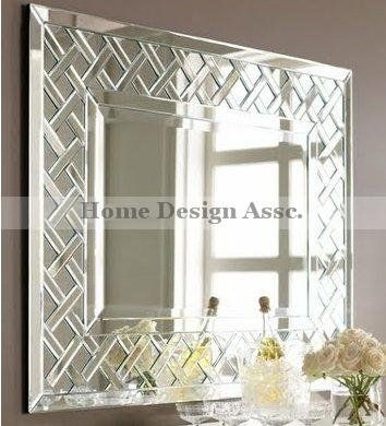 Large Wall Mirror luxe weave extra large frameless venetian lattice wall mirror
