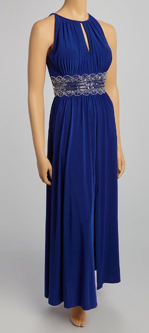 Royal Blue Beaded Keyhole Gown
