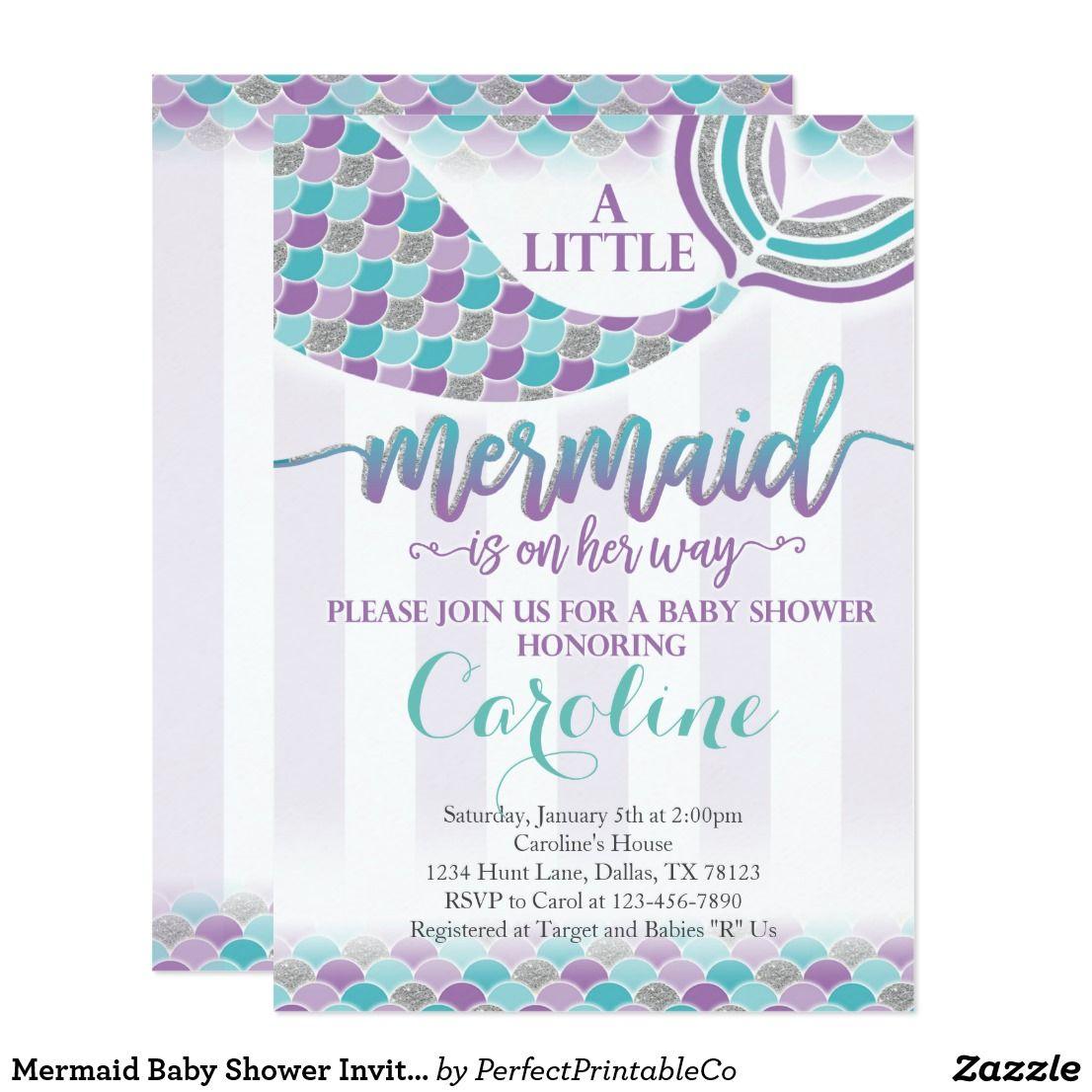 Mermaid Baby Shower Invitation Purple Teal