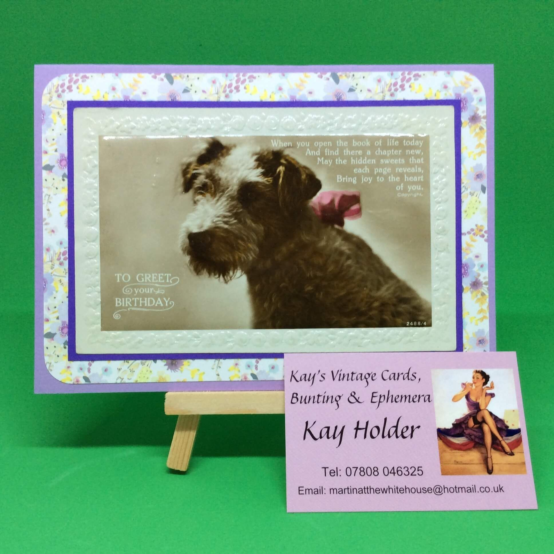 Beautiful Vintage Birthday Greetings Card Featuring Cute Little Dog