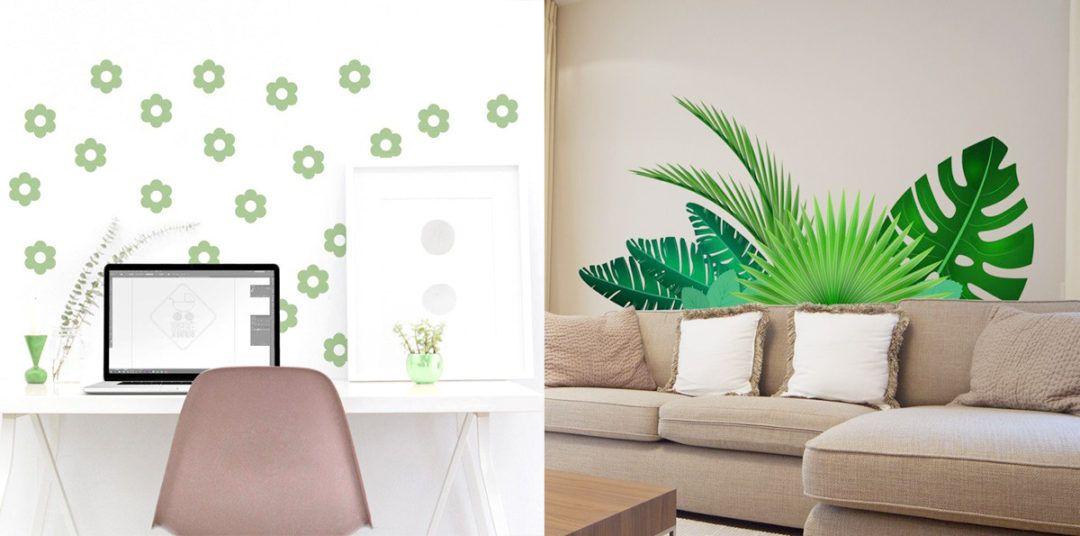Decorare le pareti del soggiorno con gli adesivi murali: foglie e ...