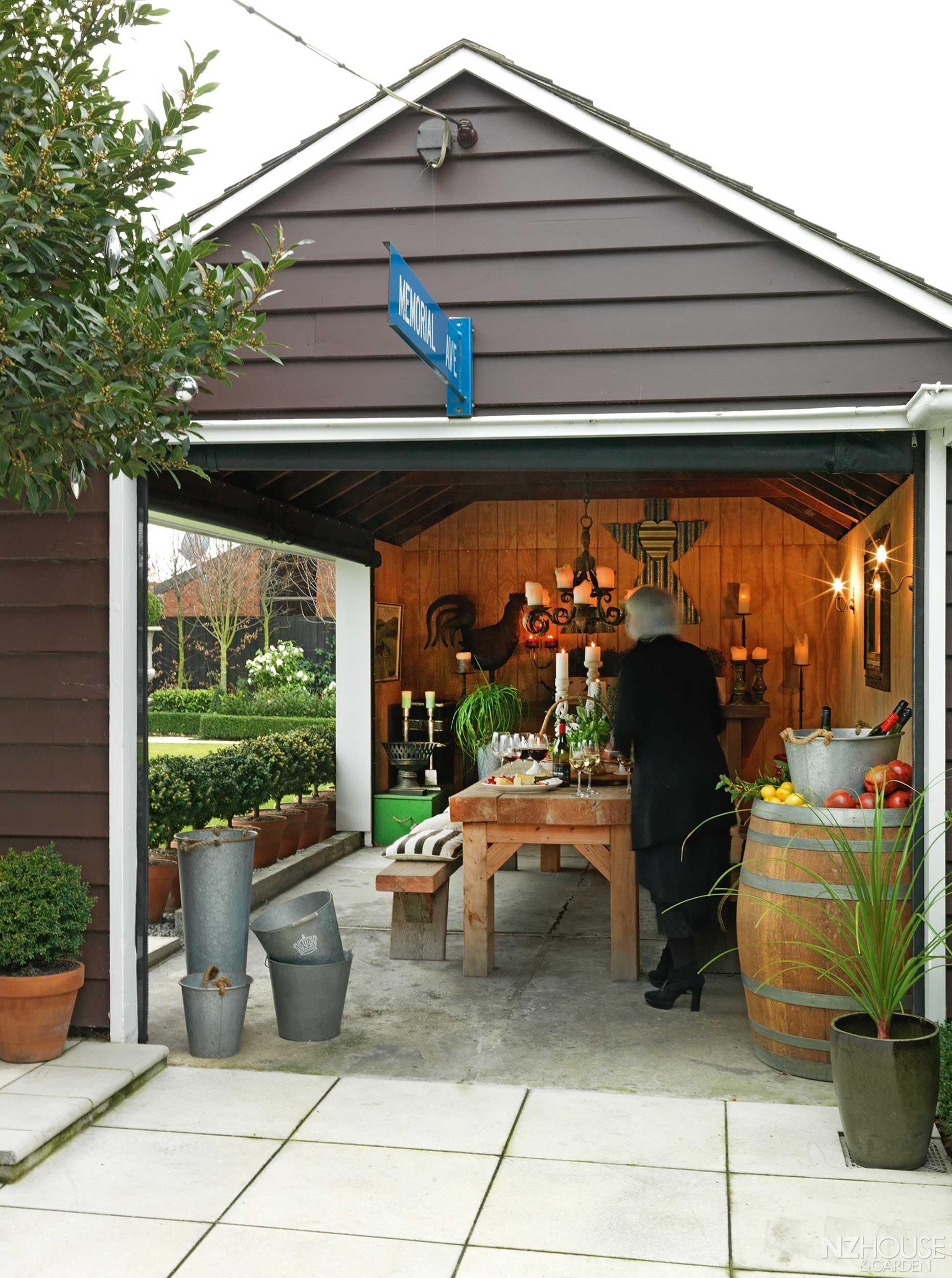The conversion from garage to outdoor entertaining room for Backyard garages