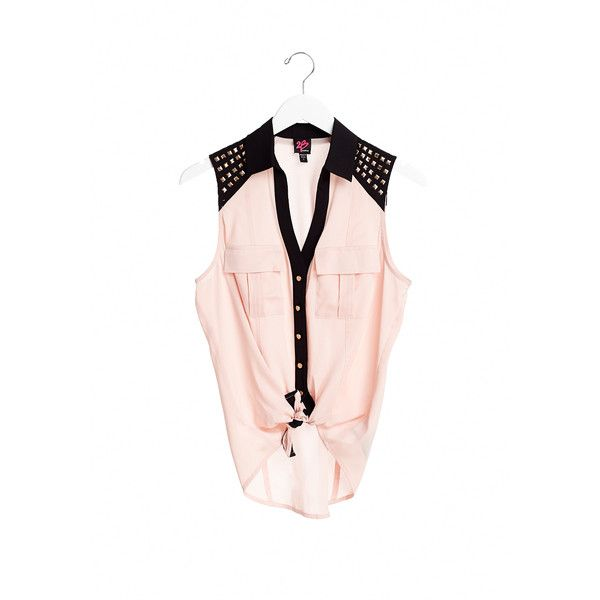 Solid Stud Shirt ($21) ❤ liked on Polyvore featuring tops, pink kiss, pink button down shirt, pink shirts, studded shirt, button up shirts and pink top