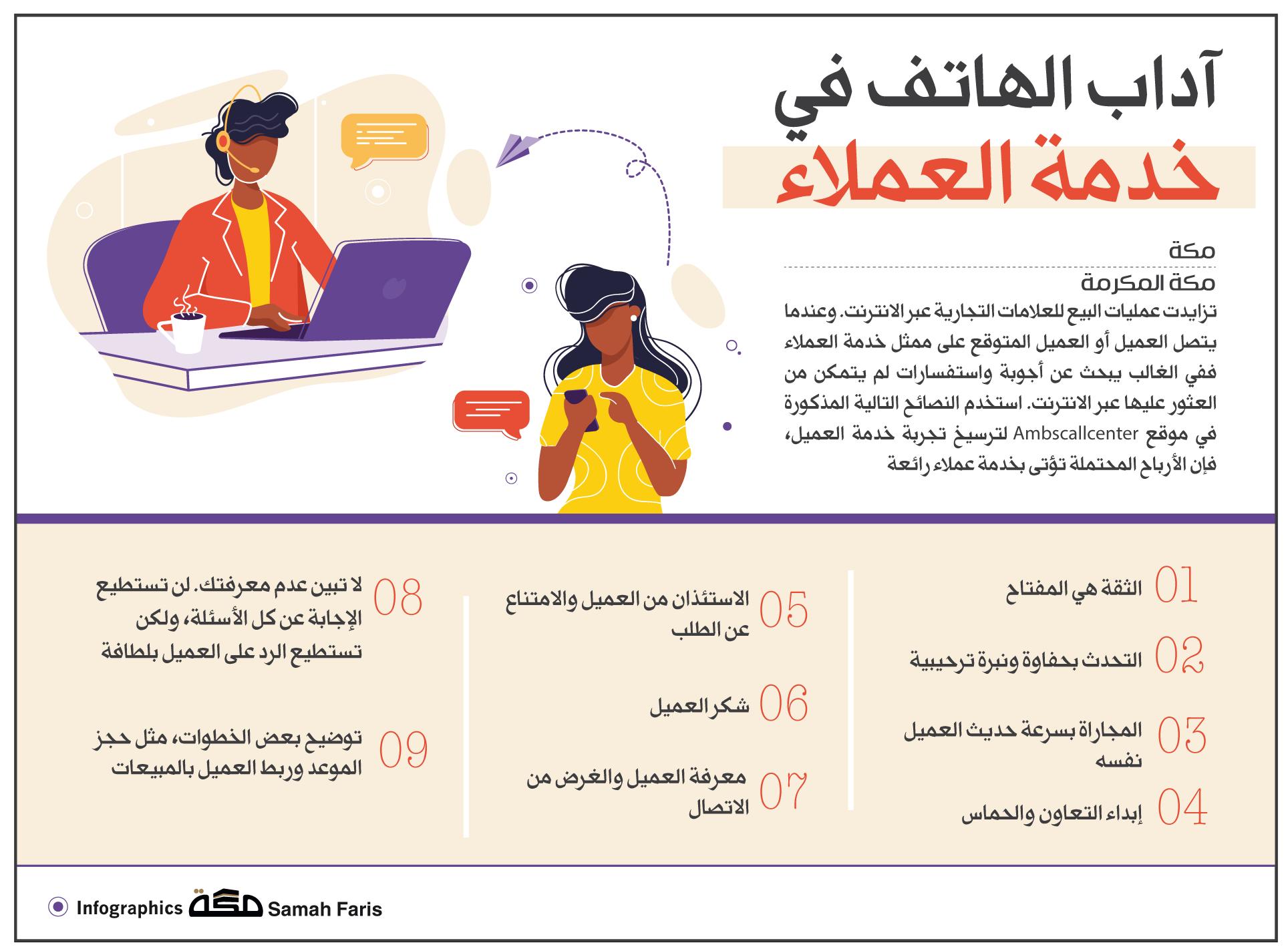 آداب الهاتف في خدمة العملاء صحيفة مكة انفوجرافيك خدمة العملاء الآداب Asos Infographic