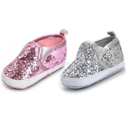 442eeba2220 Bebé Niña brillo lentejuelas Bling suave único Cuna Zapatos Zapatillas De  Princesa 0-18 mes