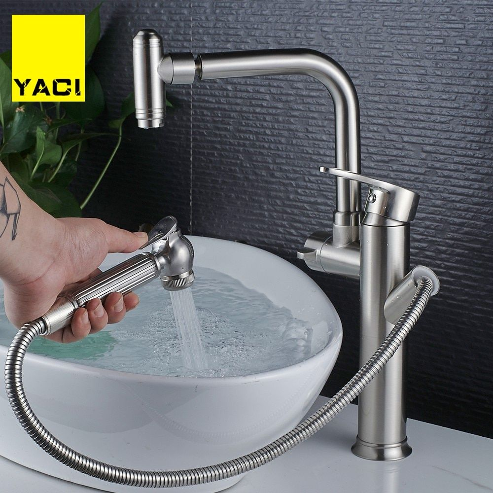 Yaci Heightening Kitchen Faucets Pull Out Shower Sprayer Deck