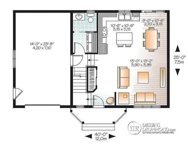 W3439-V1 - Style transitionnel, maison à bon prix, à aire ouverte, 3