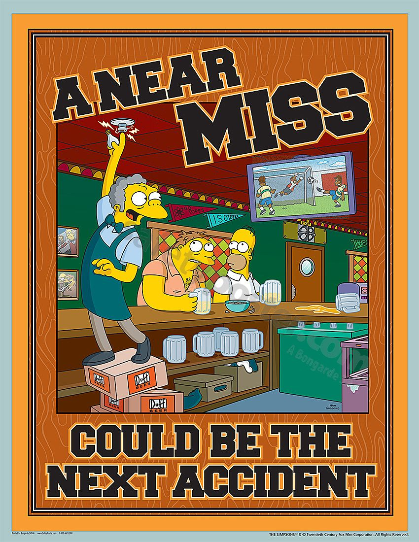 simpsons poster accident reporting safety poster