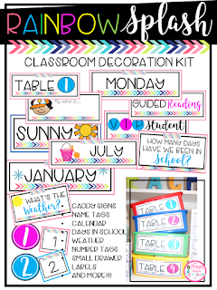 Rainbow Splash Classroom Decoration Kit Tags Calendar Pieces
