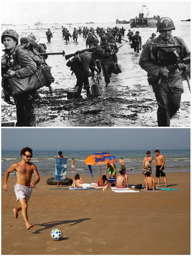 1- June 6, 1944: US reinforcements land on Omaha beach during the Normandy D-Day landings near Vierville sur Mer, France  2- People on holidays enjoy the sunshine on the former D-Day landing zone