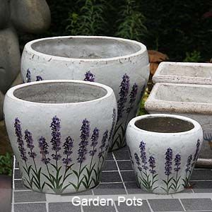 Garden Pots And Urns Garden pots with lavendar design container gardening and pots garden pots with lavendar design workwithnaturefo