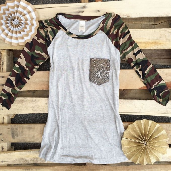 Sparkle Camo Baseball Tee: click to enlarge