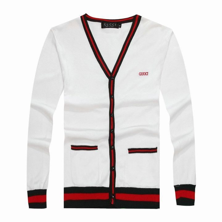 Designer Gucci Men's Long Sleeve Sweater White /Red /Green www ...