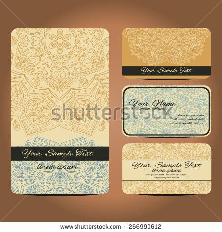 Vector Business Card Vintage Decorative Elements Hand Drawn Background