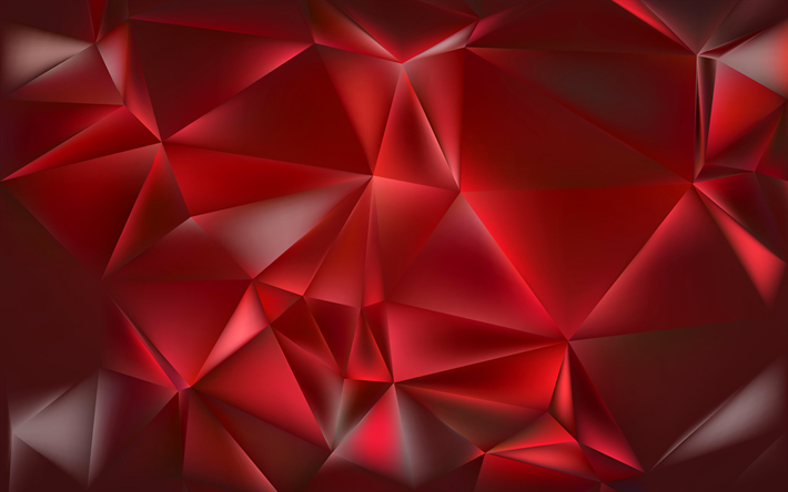 Download Wallpapers Polygons Triangle 4k Red Background Geometry Abstract Material Creative Besthqwallpapers Com Red And Black Wallpaper Abstract Polygon