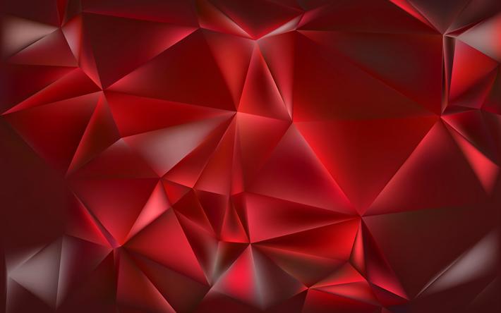 Scarica Sfondi Poligoni Triangolo 4k Sfondo Rosso Geometria