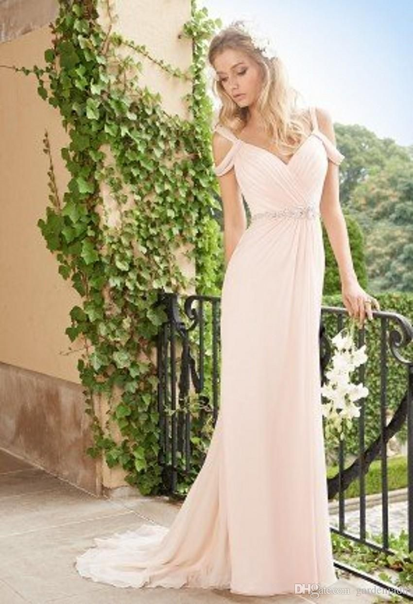 Pleated wedding dress  Summer Wedding Gown Blush Pink Modest Designers Off the Shoulder V