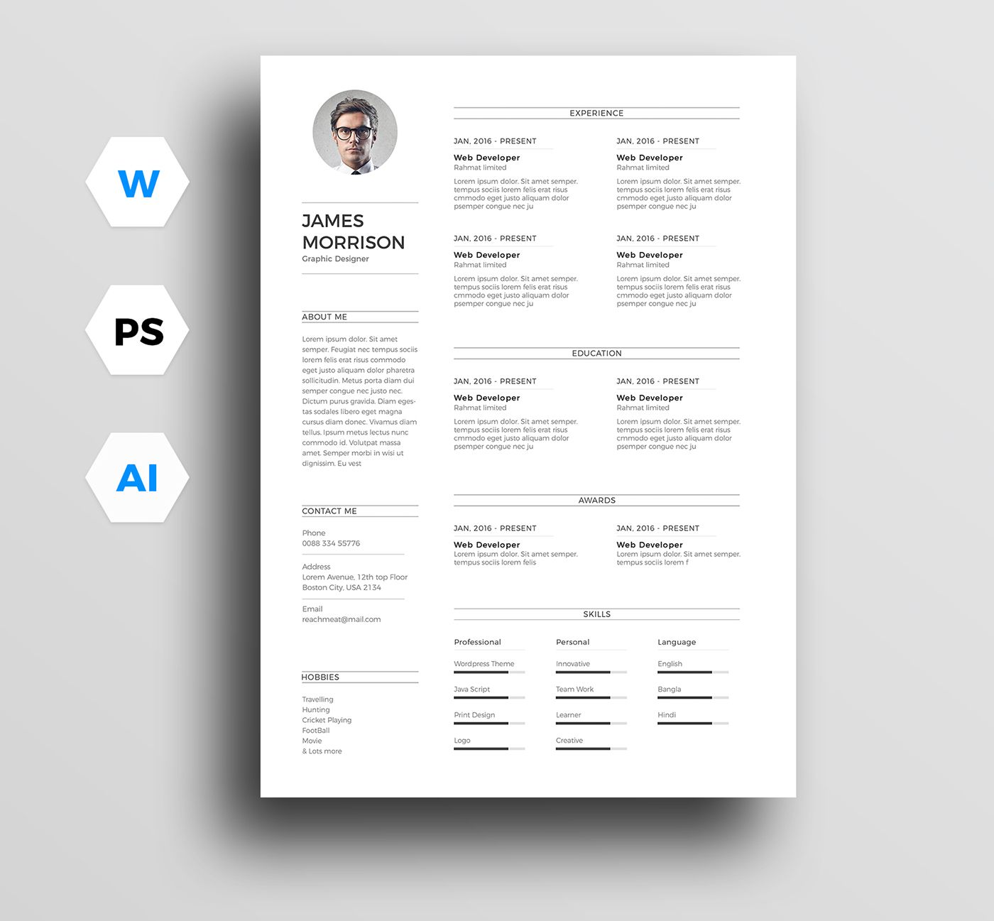 Free Minimal Resume Template Cv In Word And Ps On Behance