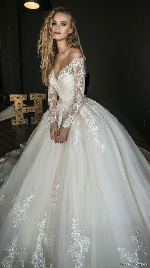 white wedding dress long sleeves bridal dress Lace Appliques wedding dress v-neck Wedding Dresses
