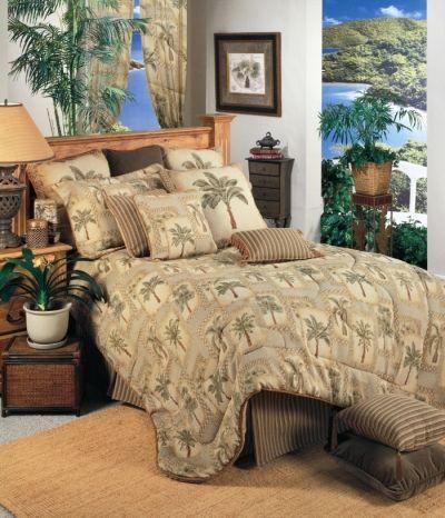 Palm Grove Tropical Bedding Comforter Set Beach Bedroom Decor