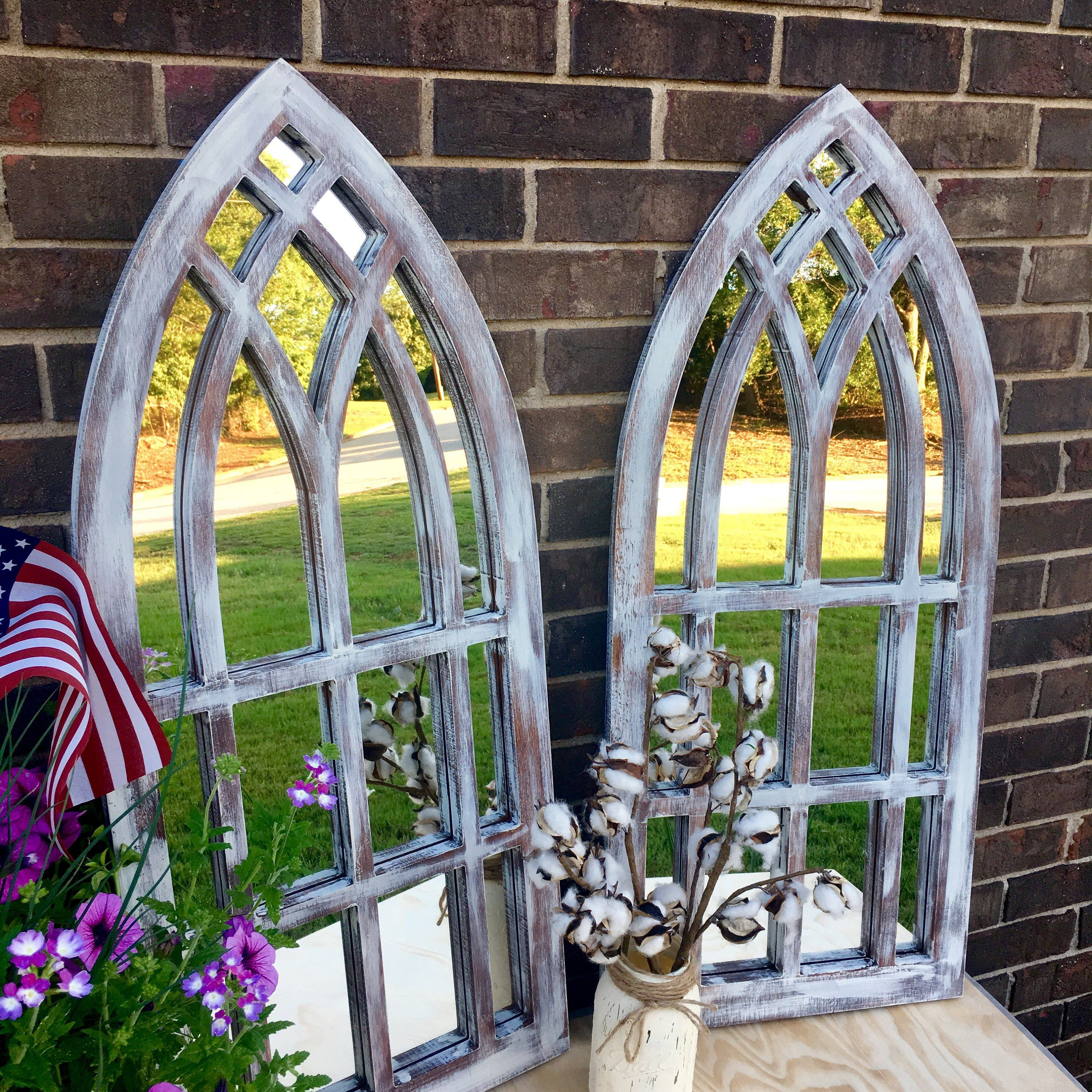 Farmhouse Arched Frames with Mirror set of two Farmhouse