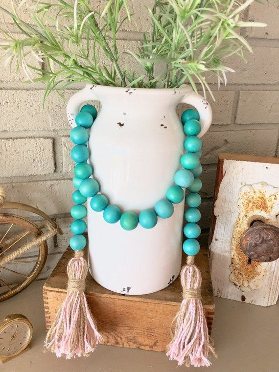 Wooden Bead Garland Mantle
