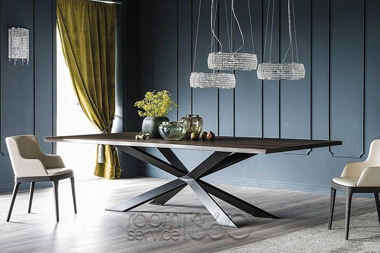 Spyder Wood Dining Table With Graphite