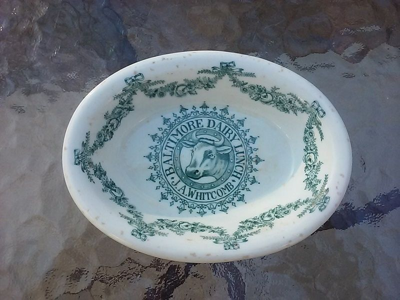 Rare Antique Baltimore Dairy Lunch J.A. Whitcomb China Dish 1920s 1930's