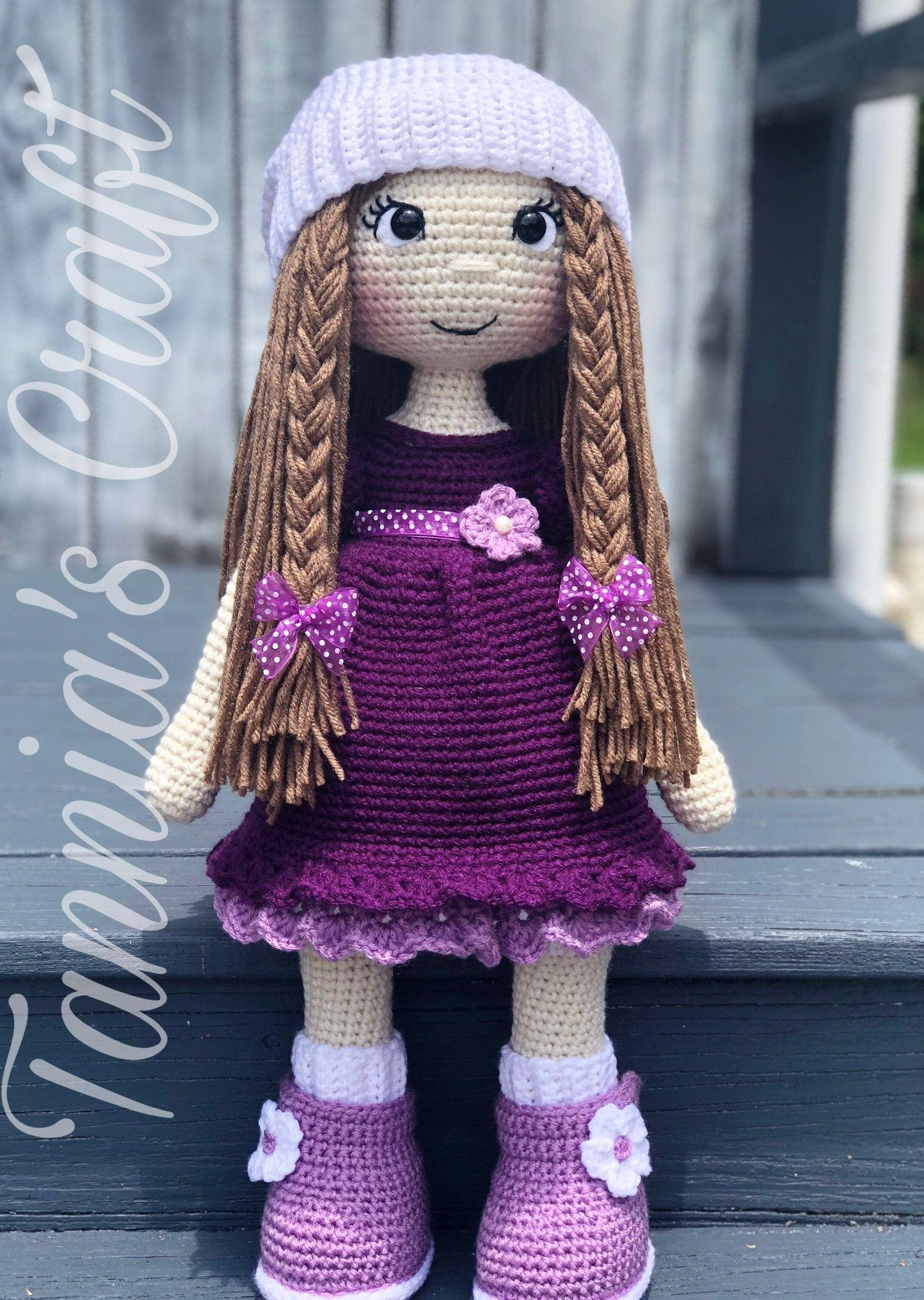 Häkeln Sie ADRY Puppe, lila Kleid, Amigurumi Puppe, häkeln Puppe, gefüllte Puppe, handgemachte Puppe #dolldresspatterns