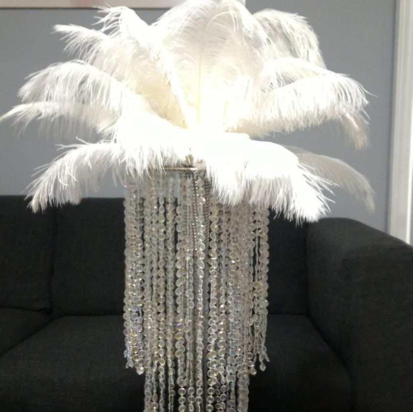 20 Chandelier Vase Ostrich Feather Centrepiece Kit By Featherology2 On
